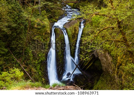 Triple Falls from Oneonta Creek, Oregon - stock photo