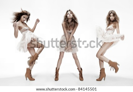 triple image of the same fashion model in different poses - stock photo