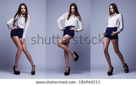 triple image of the same fashion model in different poses. Studio shot - stock photo