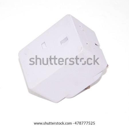 Triple Plug socket for home electricity safely use over on the white background.