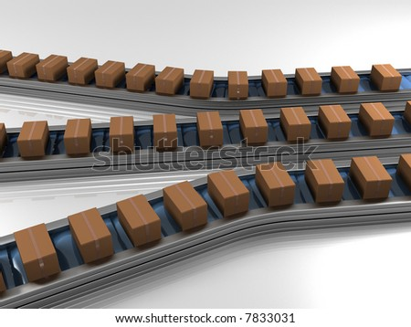 Triple row production line with boxes three dimensional model - stock photo