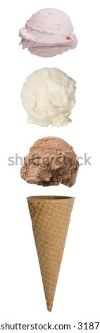 Triple scoop ice cream cone with scoops floating above cone - stock photo