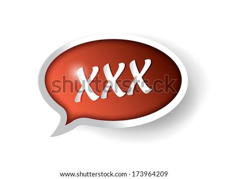triple x message bubble illustration design over a white background - stock photo