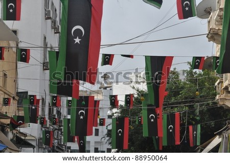 TRIPOLI, LIBYA. 5 NOVEMBER. Libyans celebrate the liberation from the Qaddafi regime in the streets of Tripoli on 5 November 2011 in Tripoli - stock photo