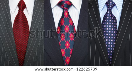 Triptych photo of a three pinstripe suits with shirt and ties. - stock photo