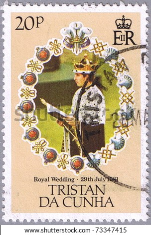 TRISTAN DA CUNHA - CIRCA 1981: A stamp printed in Tristan da Cunha shows portrait of Prince Charles, series is devoted to the royal wedding of Prince Charles to Lady Diana Spencer, circa 1981 - stock photo