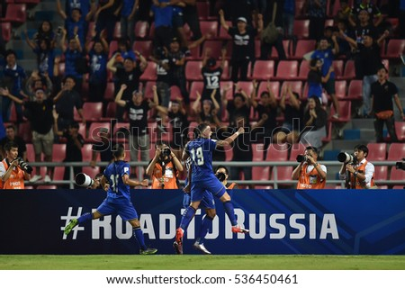 Tristan Do no.19 with Teerasil Dangda of Thailand celebrates during the 2018 World Cup Qualifiers match between Thailand and Australia at Rajamangala Stadium on September 15, 2016 in Bangkok, Thailand