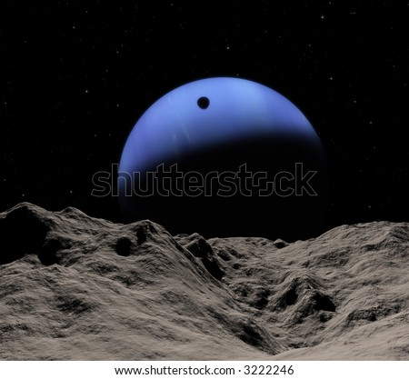 Triton's shadow from Neptune's small Proteus. Rare event of the april 24 2036 - stock photo