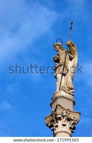 Triumph of Saint Rafael (Spanish:Triunfo de San Rafael), historic 18th century monument in the city of Cordoba, Spain, Andalusia region - stock photo