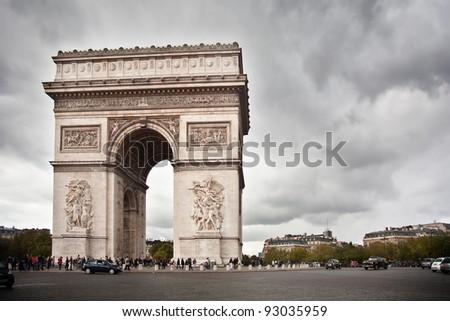 triumphal arc in Paris - stock photo