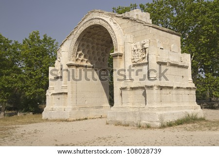 Triumphal arch in Glanum.  Roman city situated south of Saint-Remy-de-Provence France.