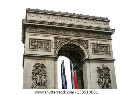 Triumphal arch in Paris, France. Isolated on white background - stock photo
