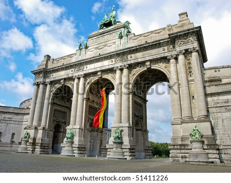 Triumphal arch in the Parc du Cinquantenaire, Brussels, Belgium - stock photo