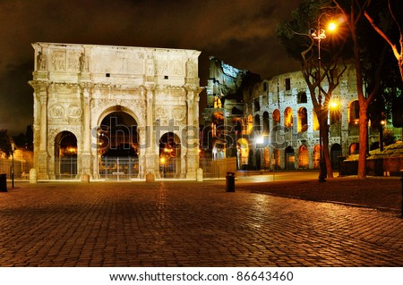 Triumphal Arch of Constantine in Rome, situated between the Colosseum and the Palatine Hill. Rome - stock photo