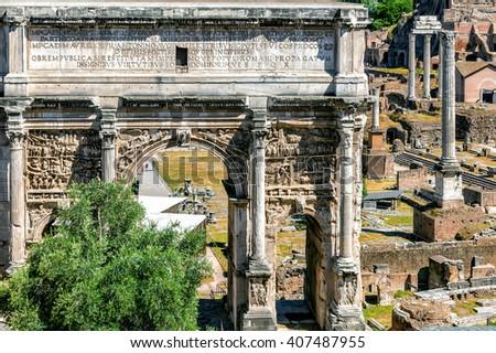 Triumphal Arch of Septimius Severus. Roman forum. - stock photo