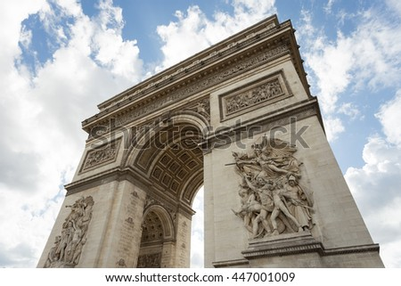 Triumphal arch. Paris. France. View of Place Charles de Gaulle. Famous touristic architecture landmark in summer day. Napoleon victory monument. Symbol of french glory. World historical heritage. - stock photo