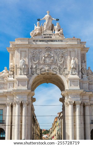 Triumphal augusta arch in Lisbon in a beautiful summer day - stock photo