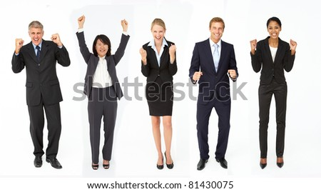 Triumphant group of businessmen and women - stock photo