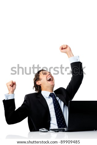 Triumphant office worker succeeded in striking a good deal online - stock photo
