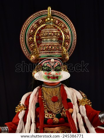 TRIVANDRUM, KERALA, INDIA, JANUARY 19, 2015: Kathakali - the classical dance-drama of Kerala based on Indian mythology, and noted for its elaborate costumes and gestures. Portrait of Ravana.