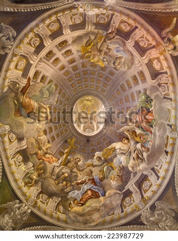 TRNAVA, SLOVAKIA - OCTOBER 14, 2014: The baroque fresco in cupola with the Coronation of Virgin Mary by A. Hess as the central motive in Saint Nicholas church and Virgin Mary side chapel. - stock photo