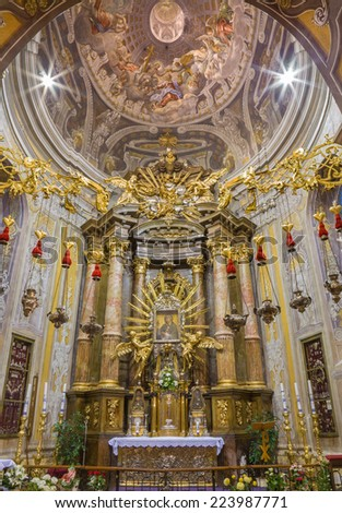 TRNAVA, SLOVAKIA - OCTOBER 14, 2014: The fresco in cupola with the Coronation of Virgin Mary by A. Hess as the central motive in St. Nicholas church and Virgin Mary chapel designed by A. Huetter. - stock photo