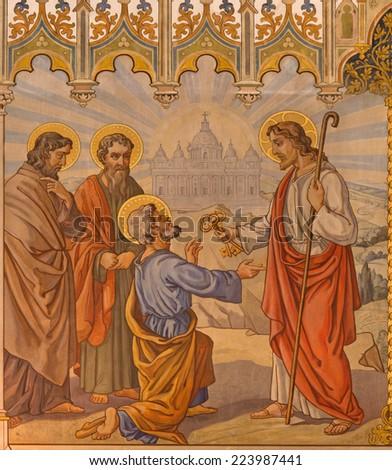 TRNAVA, SLOVAKIA - OCTOBER 14, 2014: The neo-gothic fresco of fhe scene Jesus give keys to Peter by Leopold Bruckner (1905 - 1906) in Saint Nicholas church. - stock photo