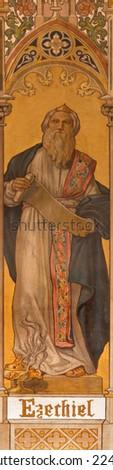 TRNAVA, SLOVAKIA - OCTOBER 14, 2014: The neo-gothic fresco of prophet Ezekiel by Leopold Bruckner (1905 - 1906) in Saint Nicholas church.  - stock photo