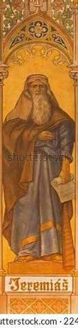 TRNAVA, SLOVAKIA - OCTOBER 14, 2014: The neo-gothic fresco of prophet Jeremiah by Leopold Bruckner (1905 - 1906) in Saint Nicholas church.  - stock photo