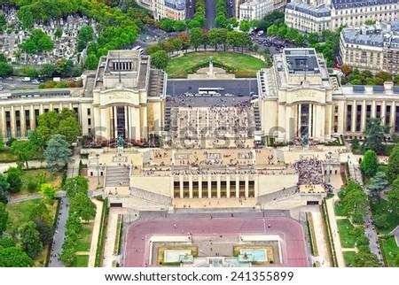 Trocadero gardens and the Palais de Chaillot from Eiffel Tower, Paris. - stock photo