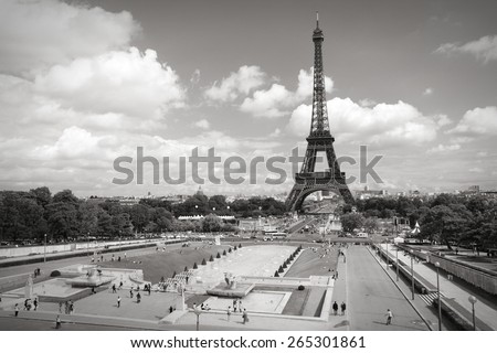 Trocadero Gardens in Paris, France. Black and white toned photo. - stock photo