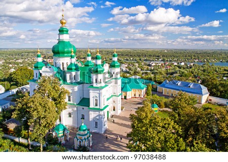 Troeckiy cathedral (17th century) in the city of Chernihiv, Ukraine - stock photo