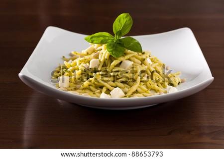 Trofie with Pesto, Italian Dish - stock photo