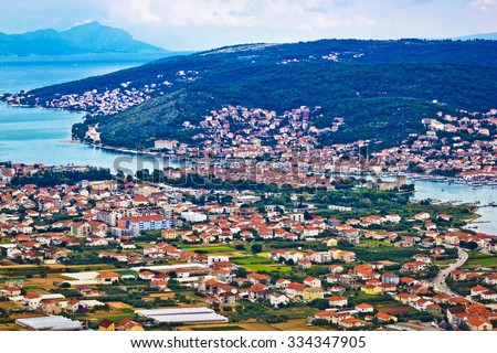 Trogir and Ciovo island aerial view, Dalmatia, Croatia - stock photo