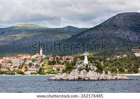 Trogir area, Croatia view from the sea. Horizontal view - stock photo