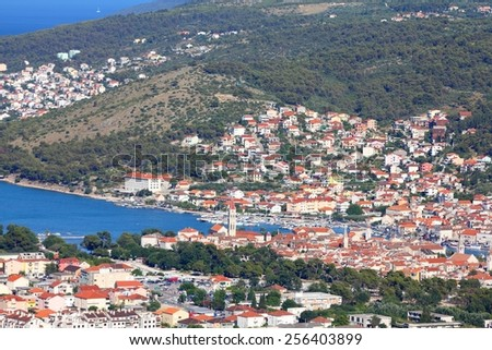 Trogir, Croatia - aerial view of the UNESCO listed Old Town. Dalmatia region. - stock photo