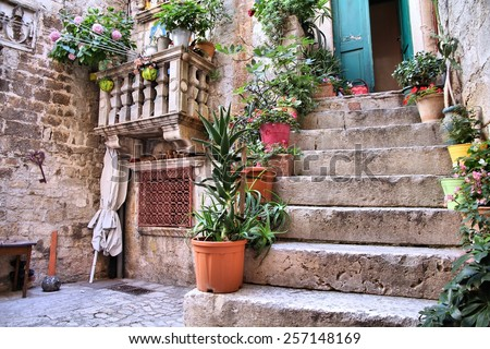 Trogir, Croatia - Old Town architecture detail. UNESCO place. - stock photo