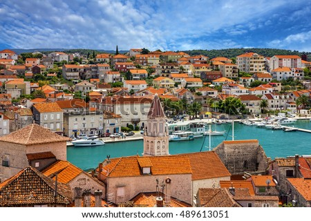 Trogir, Croatia, town panoramic view, Croatian tourist destination.