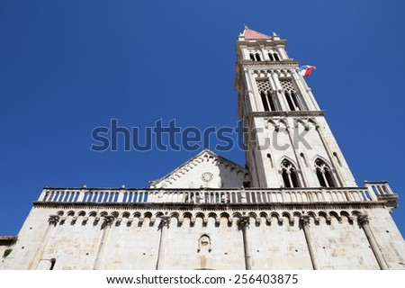 Trogir in Croatia (UNESCO World Heritage Site). Campanile of the cathedral. - stock photo