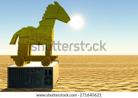 Trojan horse and computer illustration - stock photo