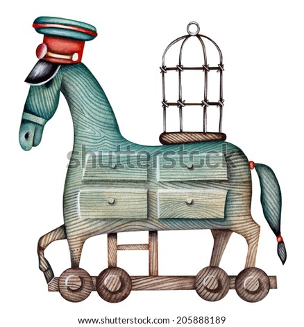 Trojan Horse as computer virus symbol - stock photo