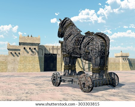 Trojan Horse Computer generated 3D illustration - stock photo