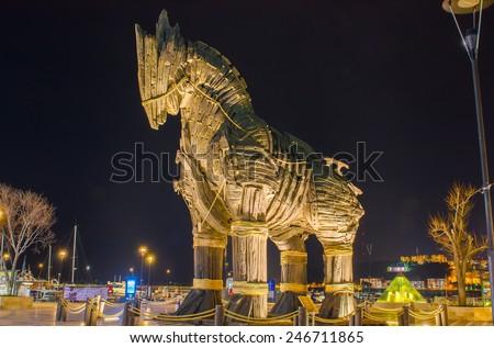 Trojan Horse in Canakkale Square,Turkey. - stock photo