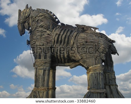 Trojan Horse in Canakkale Square,Turkey. - stock photo