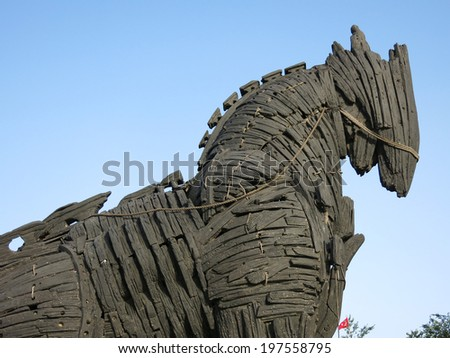 Trojan Horse in Canakkale Square,Turkey. This is the Trojan horse which appeared in the Brad Pitt movie, now in the town of Canakkale near Troy. - stock photo