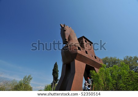 Trojan Horse in Troy, Turkey - stock photo