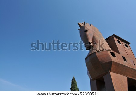 Trojan Horse in Troy, Turkey with clear blue skies - stock photo