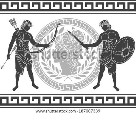 trojan war. fifth variant. raster version - stock photo