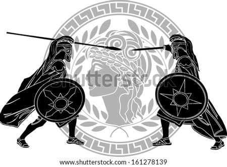 trojan war. stencil. raster version - stock photo