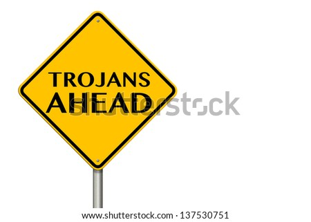 Trojans Ahead traffic sign on a white background